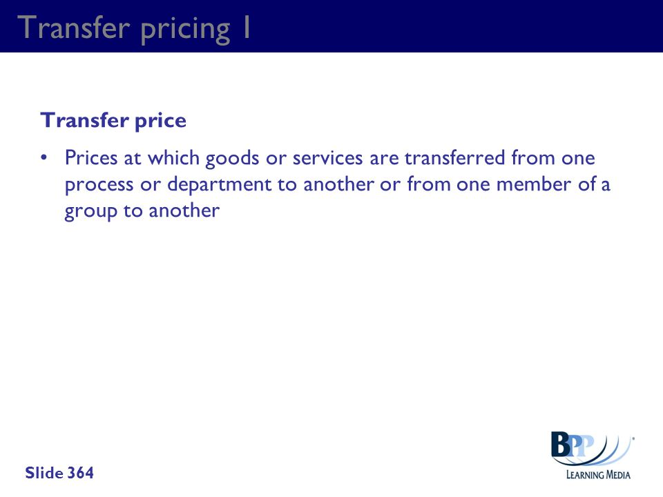 Transfer pricing 1 Transfer price