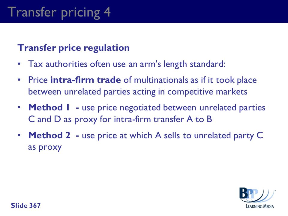 Transfer pricing 4 Transfer price regulation