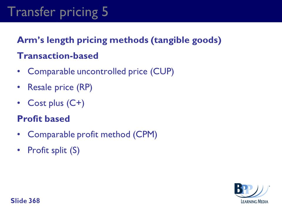 Transfer pricing 5 Arm's length pricing methods (tangible goods)