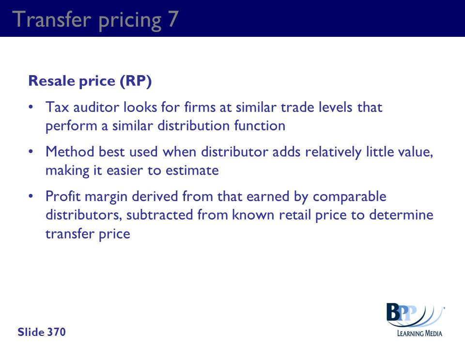 Transfer pricing 7 Resale price (RP)
