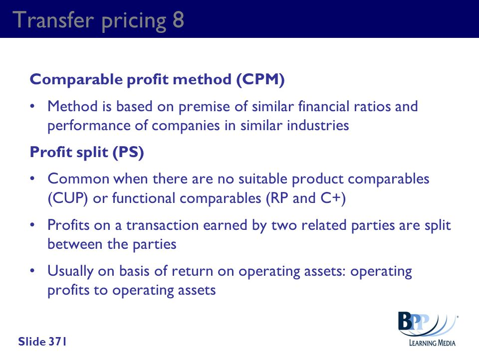 Transfer pricing 8 Comparable profit method (CPM)