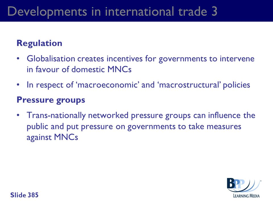 Developments in international trade 3