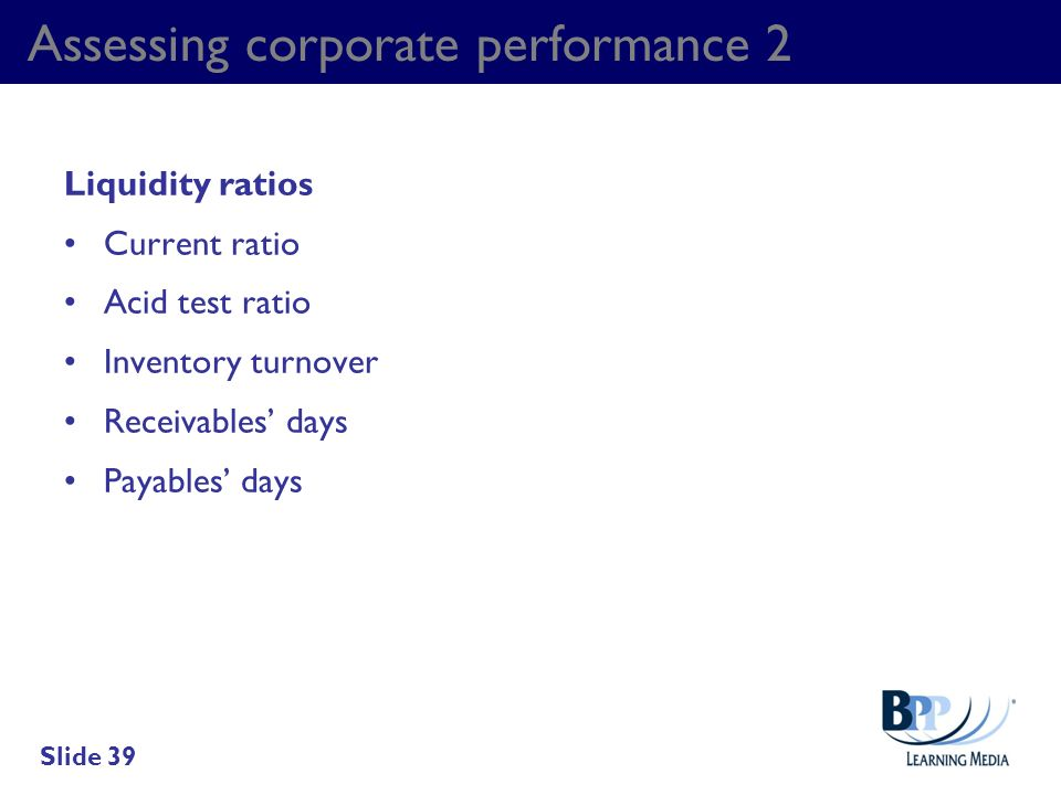 Assessing corporate performance 2