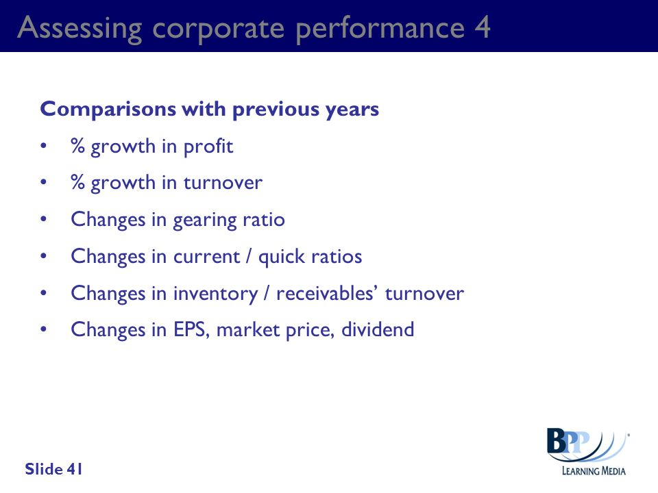 Assessing corporate performance 4