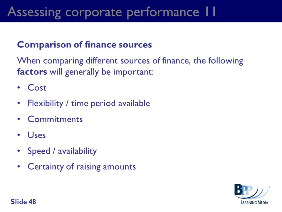 Assessing corporate performance 11