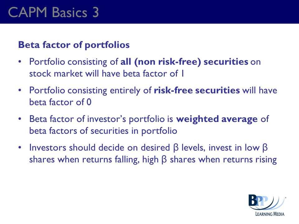 CAPM Basics 3 Beta factor of portfolios
