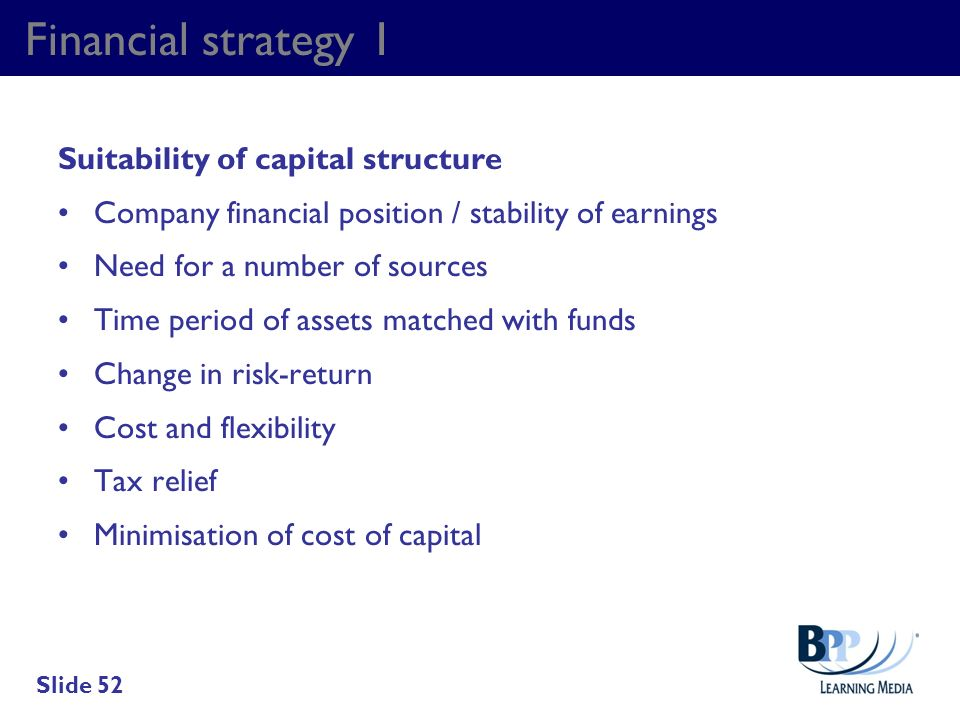 Financial strategy 1 Suitability of capital structure