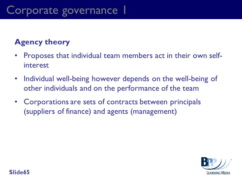 Corporate governance 1 Agency theory
