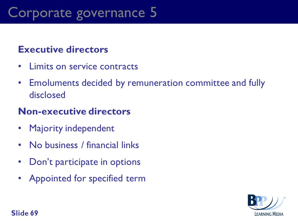 Corporate governance 5 Executive directors Limits on service contracts
