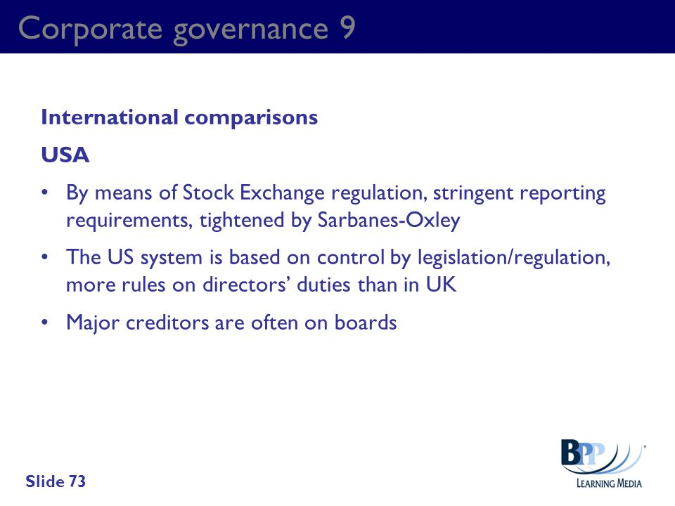 Corporate governance 9 International comparisons USA