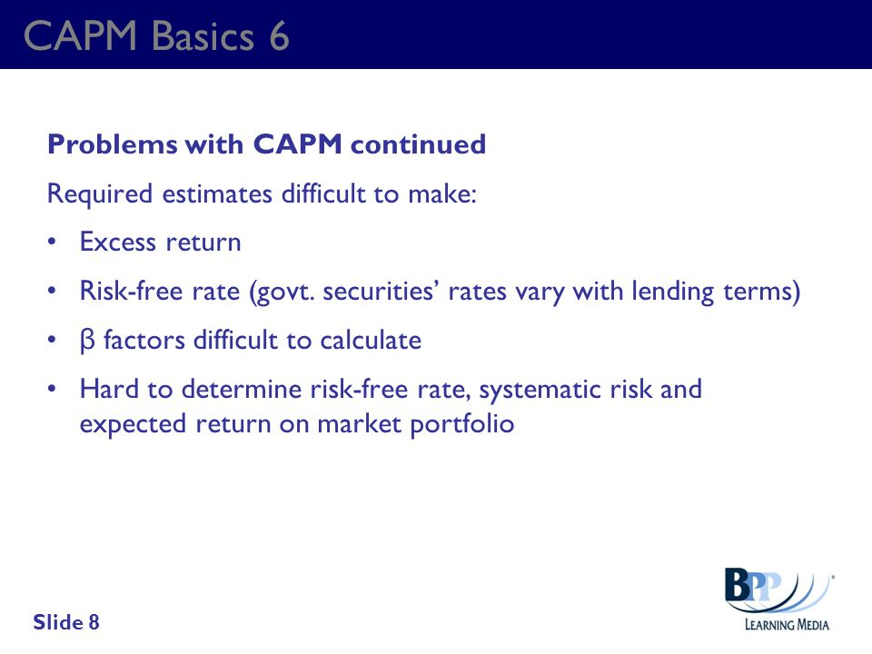 CAPM Basics 6 Problems with CAPM continued