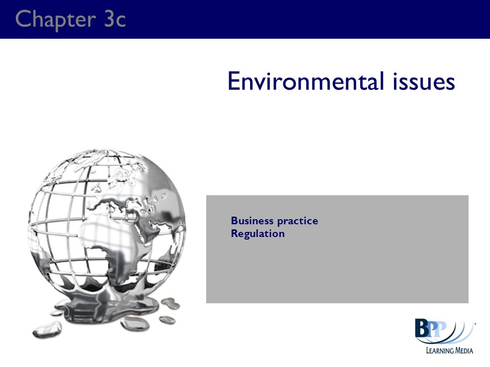 Chapter 3c Environmental issues Business practice Regulation