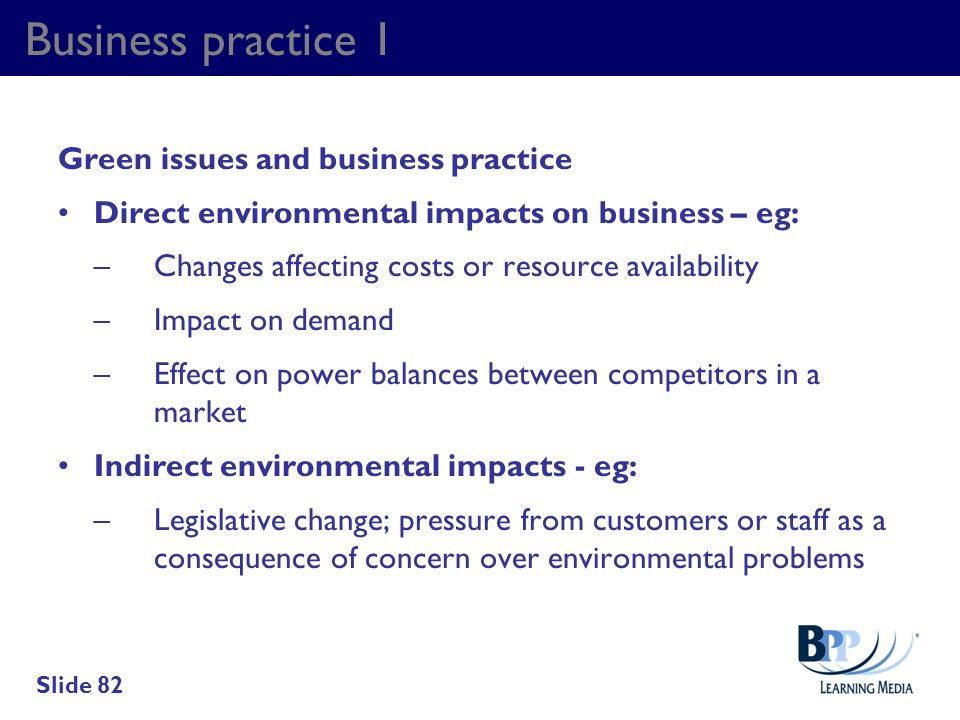 Business practice 1 Green issues and business practice