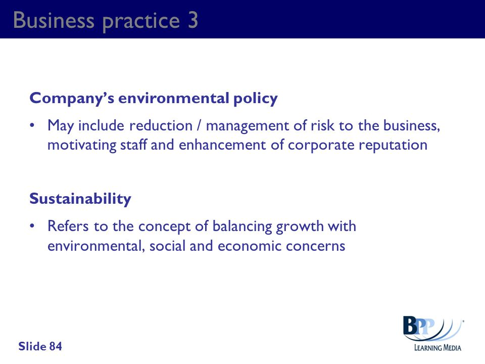 Business practice 3 Company's environmental policy