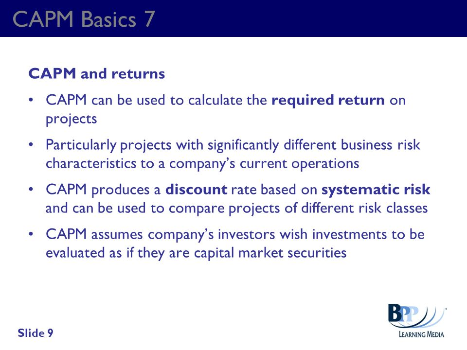 CAPM Basics 7 CAPM and returns