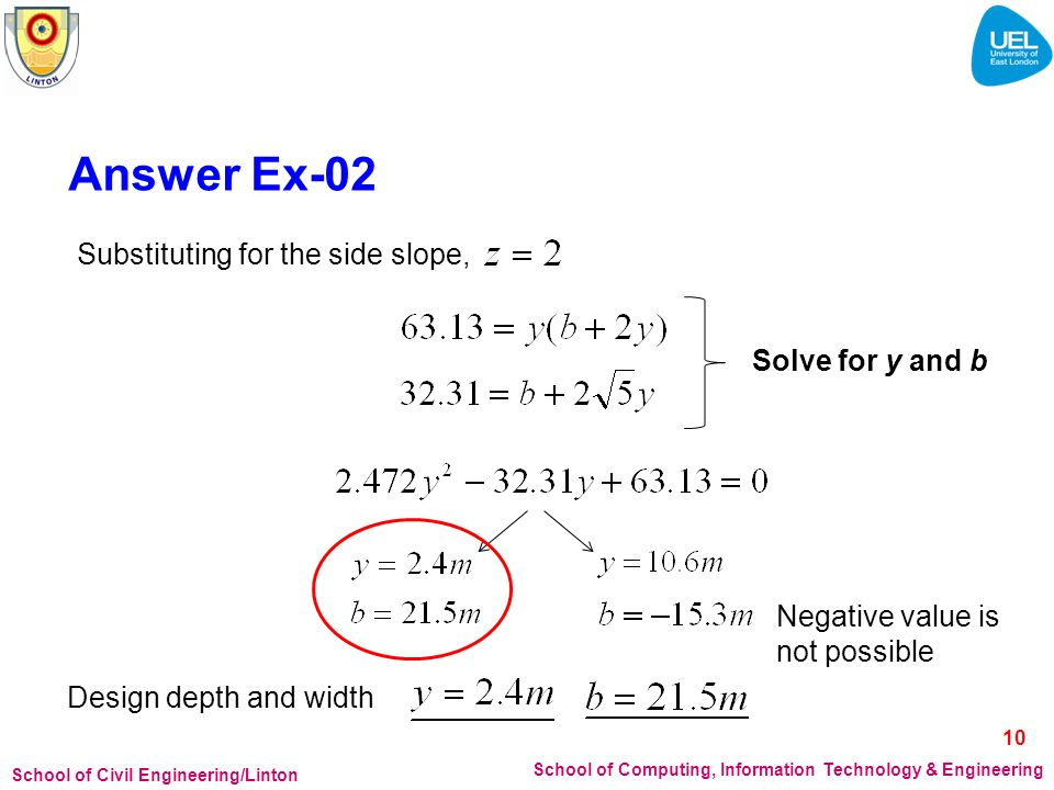 Answer Ex-02 Substituting for the side slope, Solve for y and b