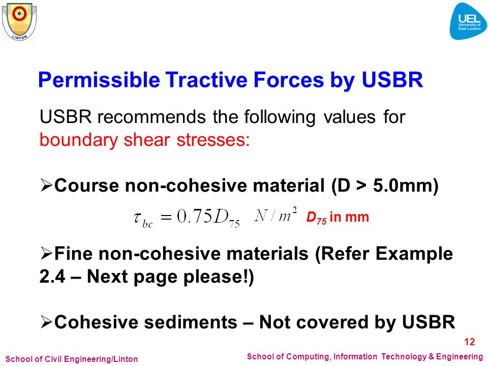 Permissible Tractive Forces by USBR