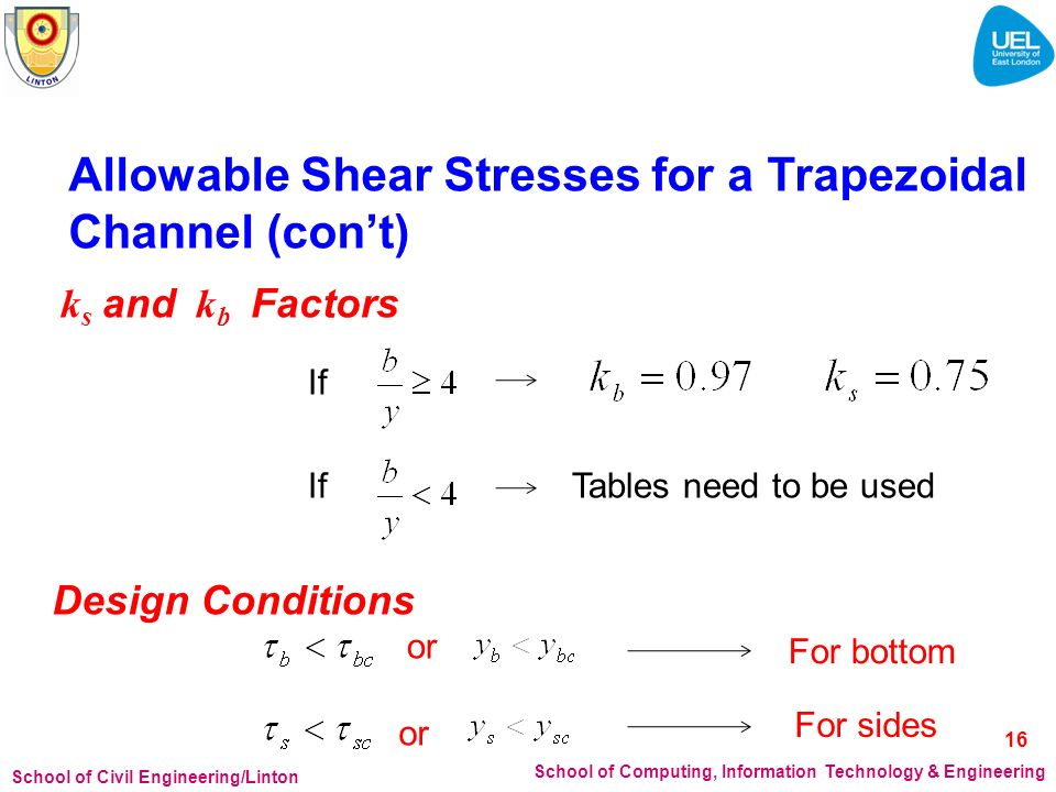 Allowable Shear Stresses for a Trapezoidal Channel (con't)