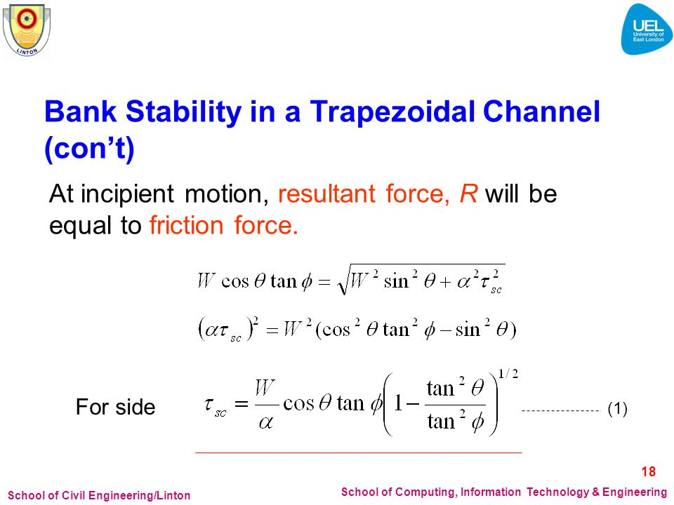 Bank Stability in a Trapezoidal Channel (con't)