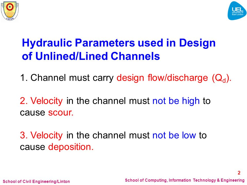 Hydraulic Parameters used in Design of Unlined/Lined Channels