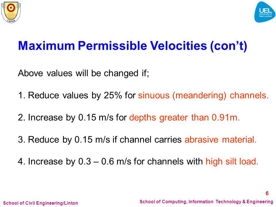 Maximum Permissible Velocities (con't)