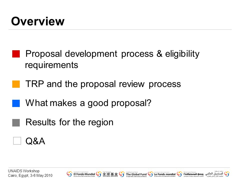 Overview Proposal development process & eligibility requirements
