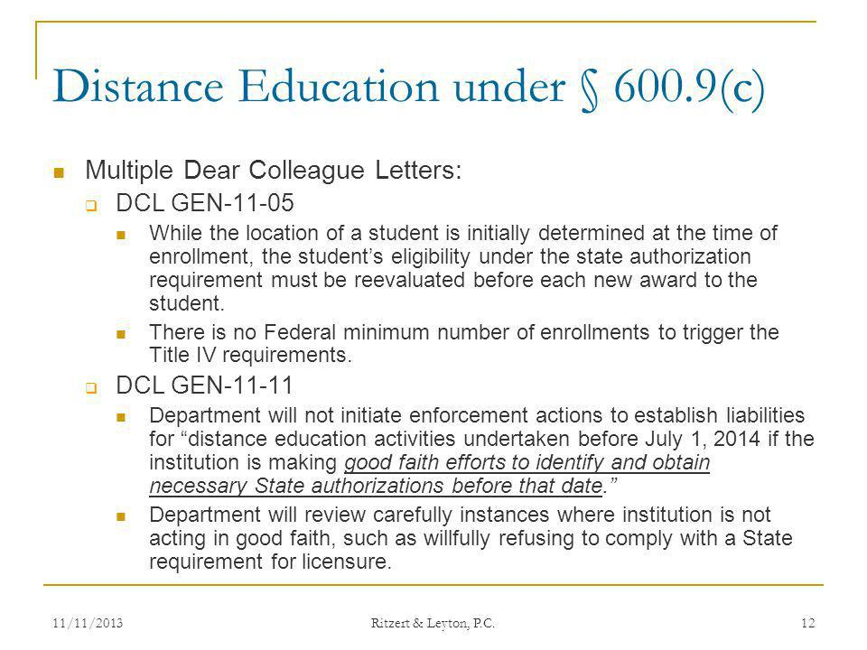 Distance Education under § 600.9(c)