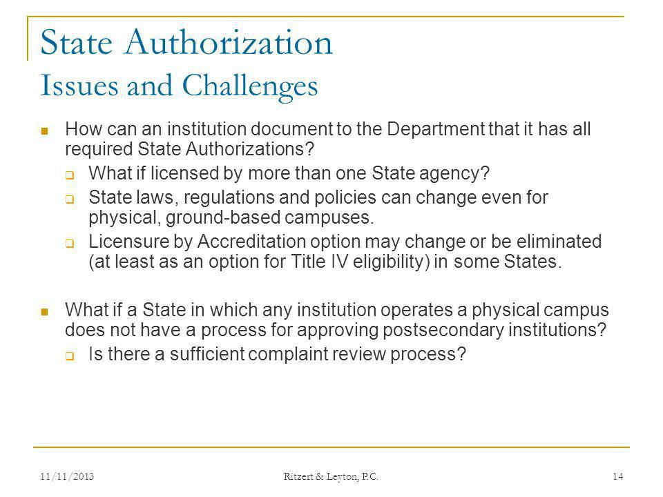 State Authorization Issues and Challenges
