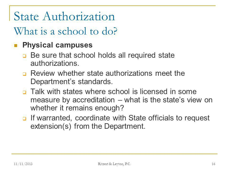 State Authorization What is a school to do
