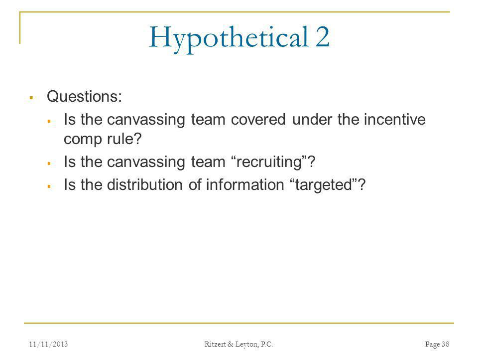 Hypothetical 2 Questions: