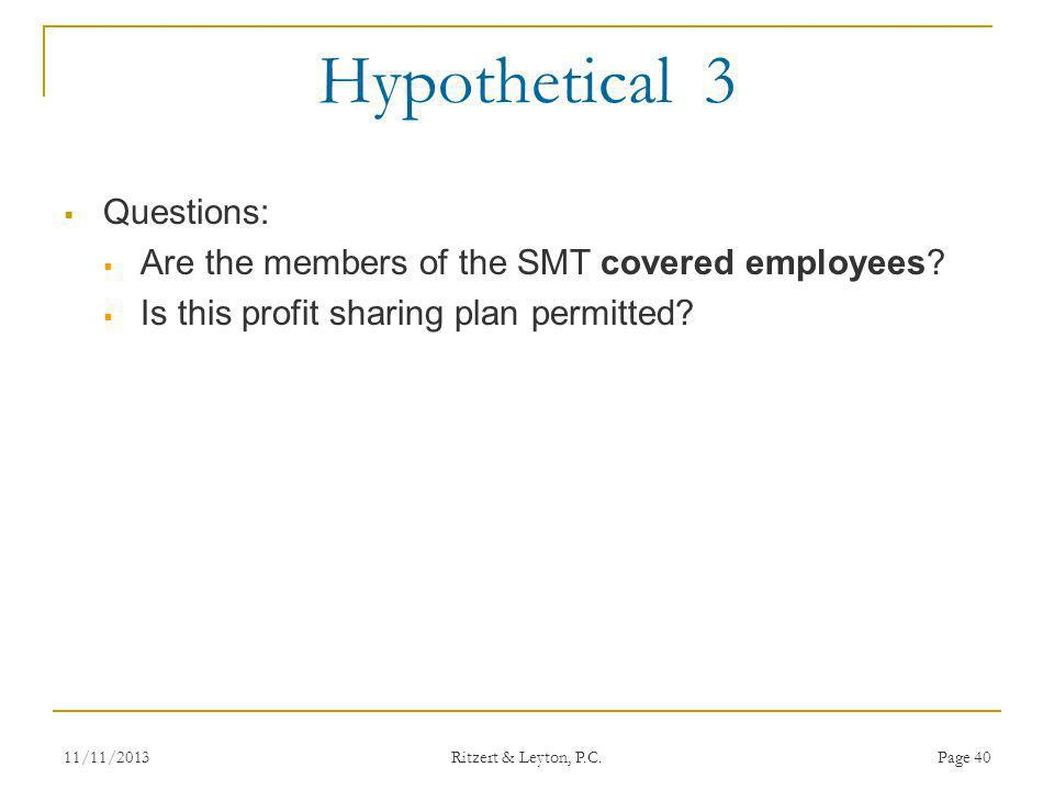 Hypothetical 3 Questions: