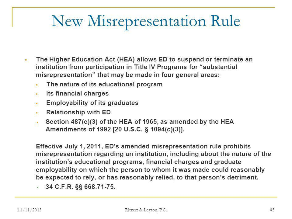 New Misrepresentation Rule