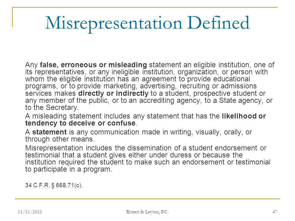 Misrepresentation Defined