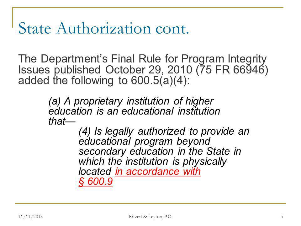 State Authorization cont.