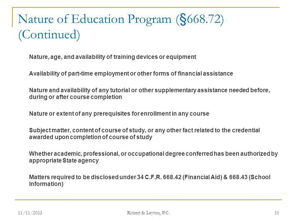 Nature of Education Program (§668.72) (Continued)