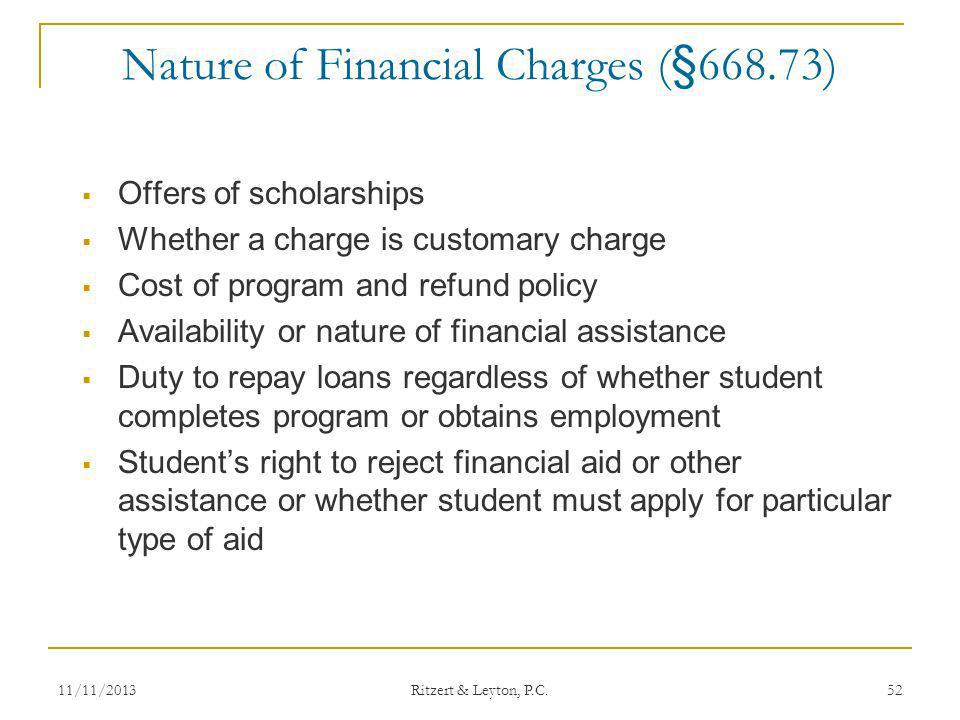 Nature of Financial Charges (§668.73)