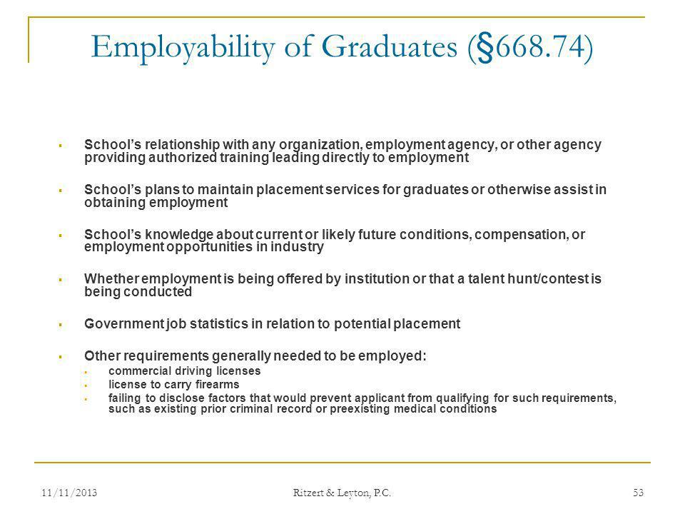 Employability of Graduates (§668.74)