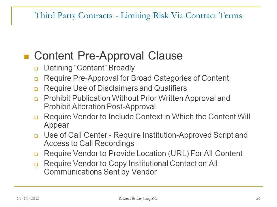 Third Party Contracts - Limiting Risk Via Contract Terms