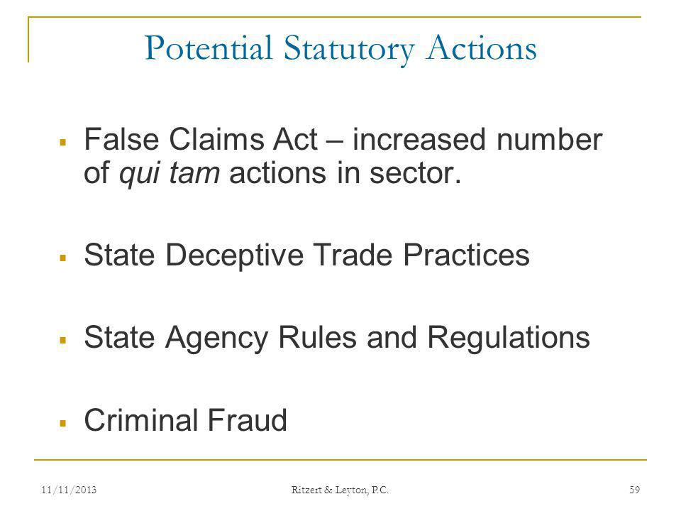 Potential Statutory Actions