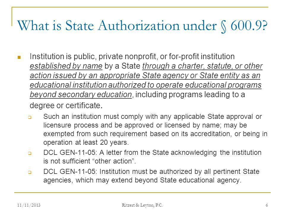 What is State Authorization under § 600.9