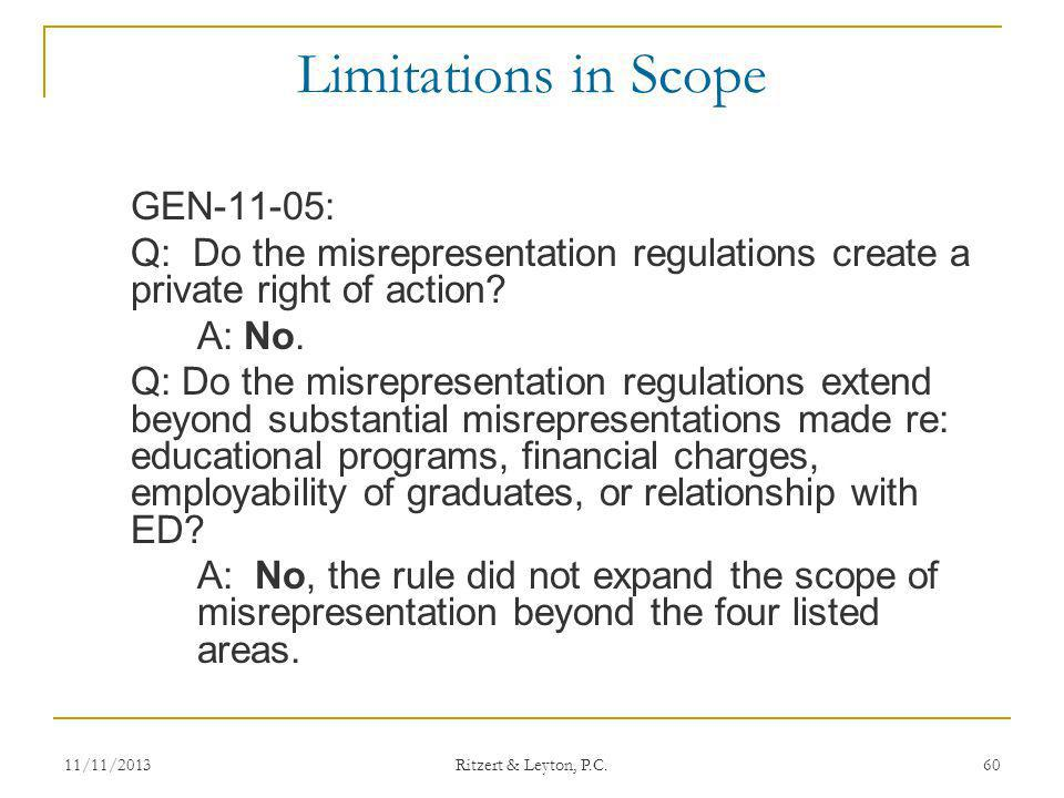 Limitations in Scope GEN-11-05: