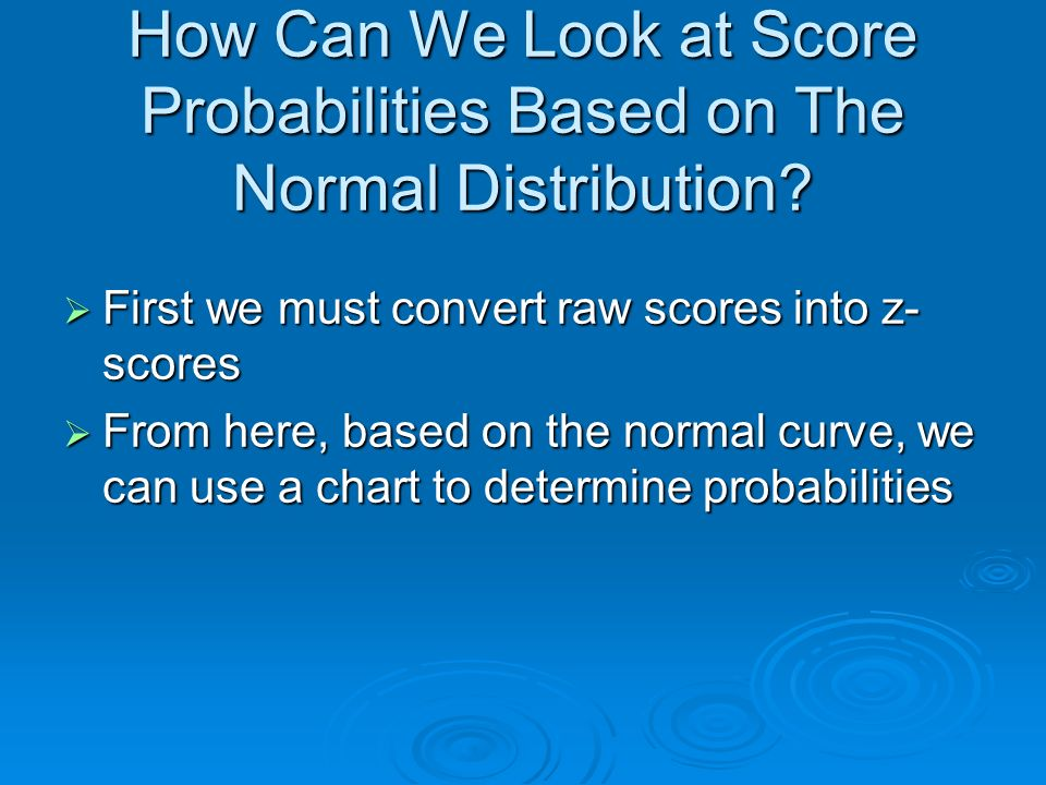 How Can We Look at Score Probabilities Based on The Normal Distribution