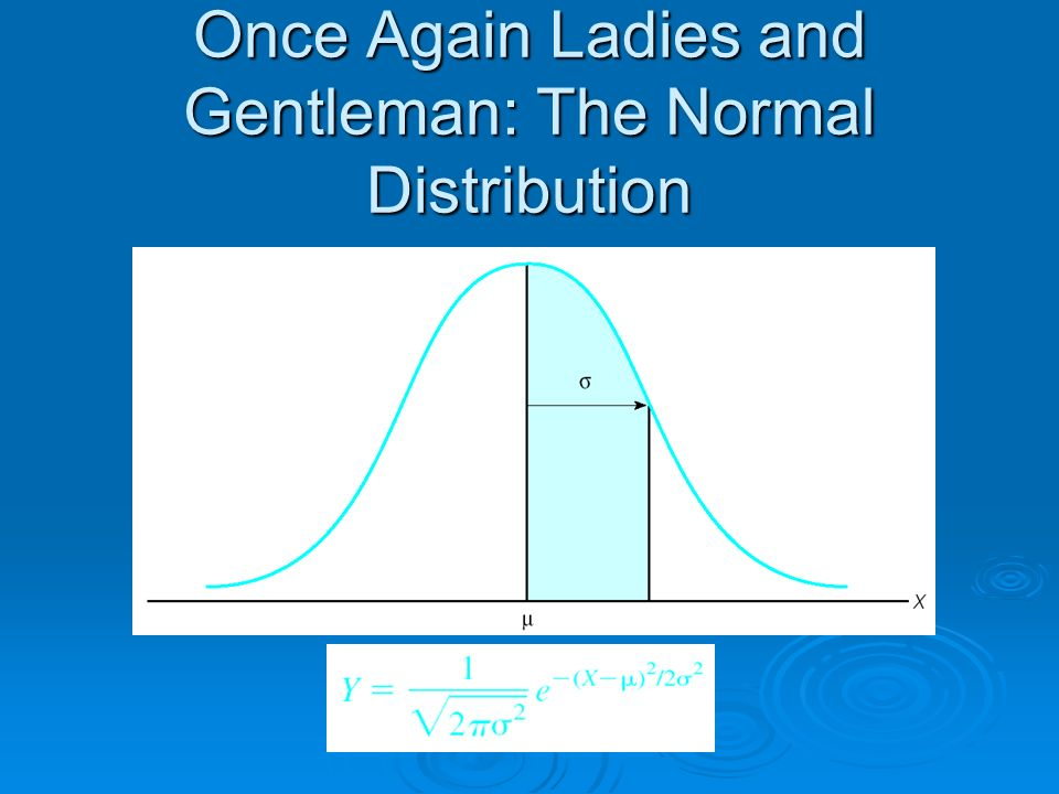 Once Again Ladies and Gentleman: The Normal Distribution