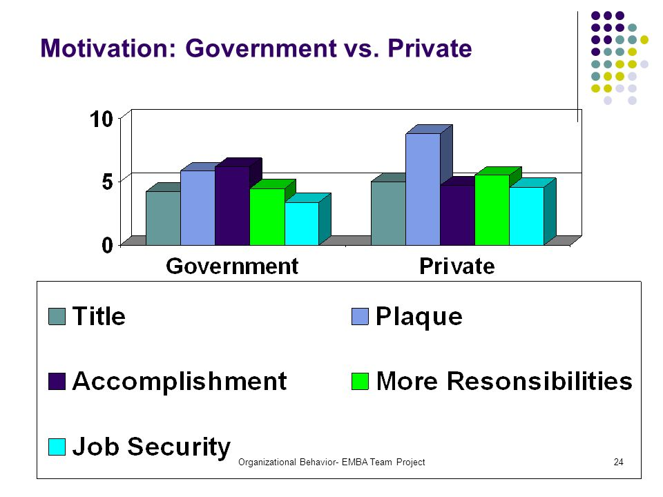 Motivation: Government vs. Private