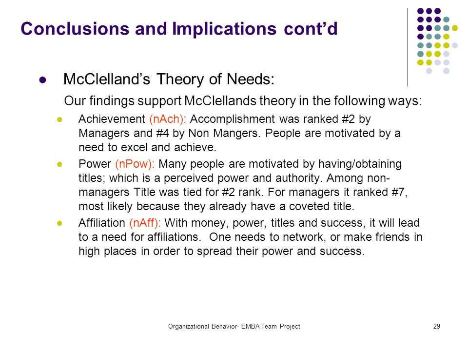 Conclusions and Implications cont'd