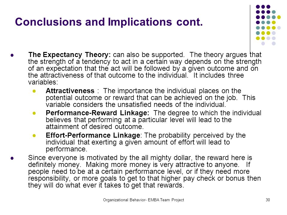 Conclusions and Implications cont.