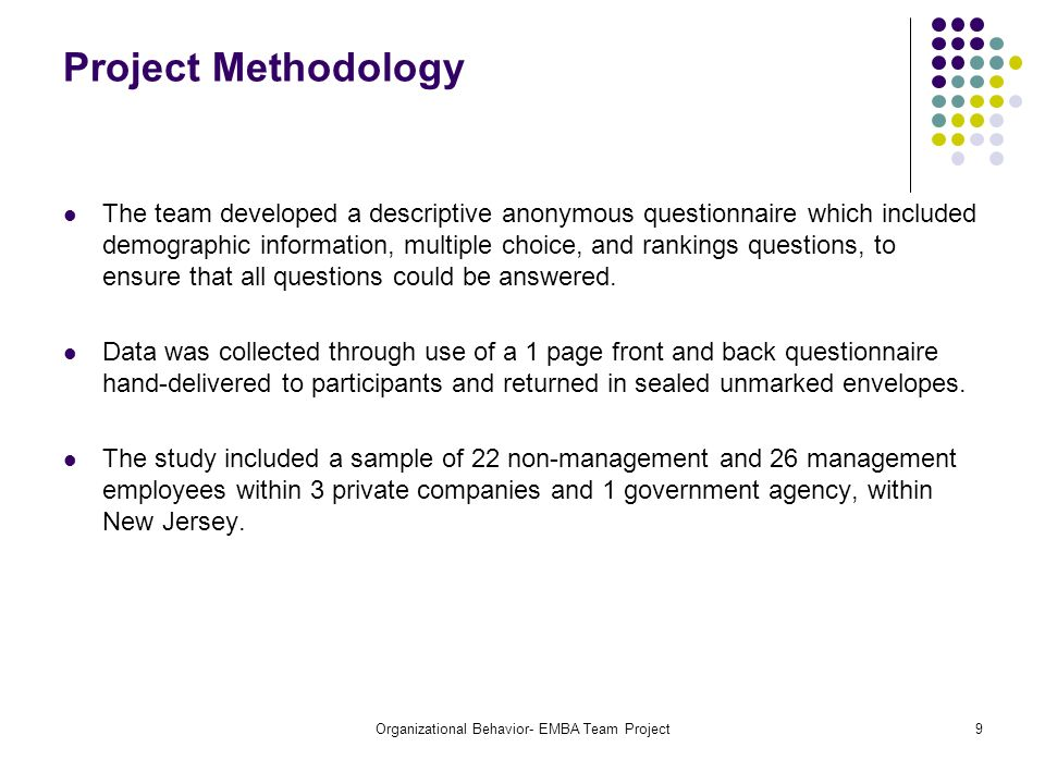 Organizational Behavior- EMBA Team Project