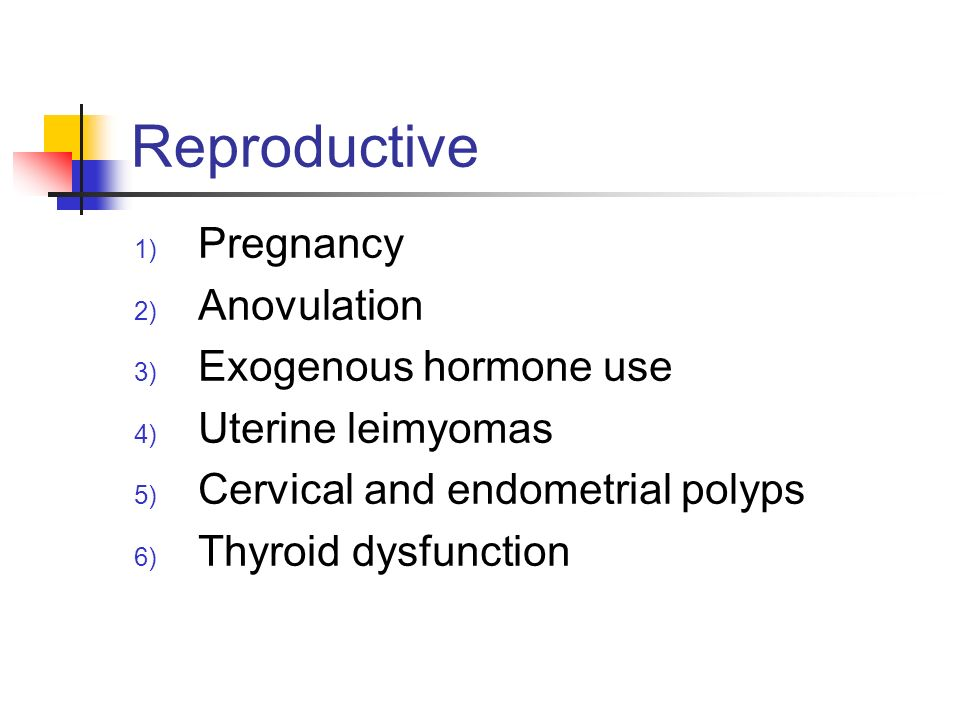 Reproductive Pregnancy Anovulation Exogenous hormone use
