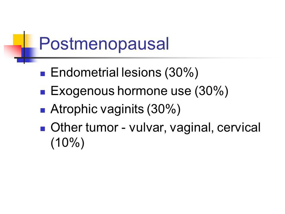 Postmenopausal Endometrial lesions (30%) Exogenous hormone use (30%)