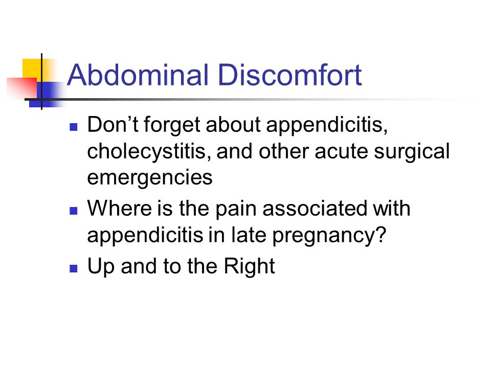 Abdominal Discomfort Don't forget about appendicitis, cholecystitis, and other acute surgical emergencies.